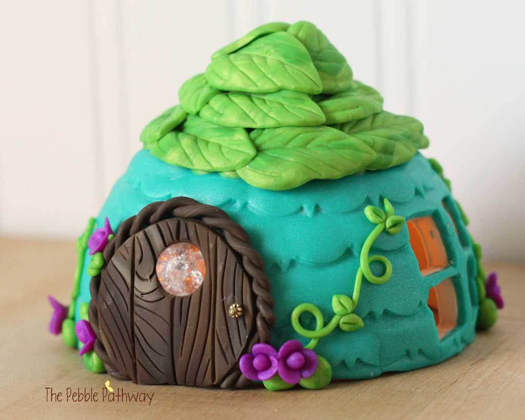 Fairy House - Blue with green leaf roof and purple flower accents 0374 - ThePebblePathway