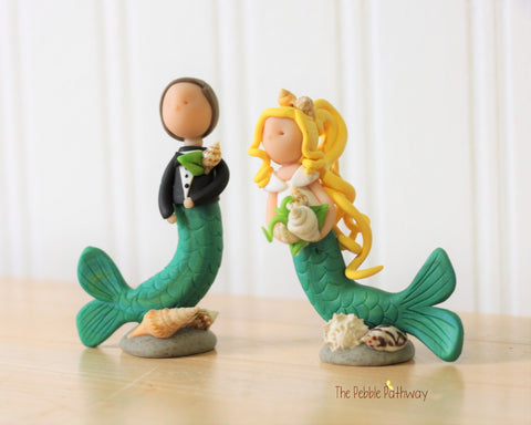 Bride and Groom Mermaids - ThePebblePathway