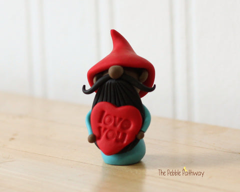 Dark Skin Love You gnome with dark beard - ThePebblePathway
