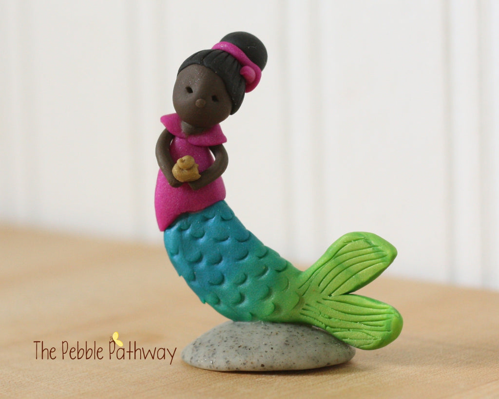Mermaid Fairy Brown skin purple top - ThePebblePathway