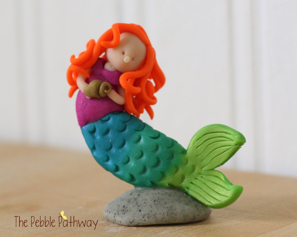 Mermaid Fairy ginger hair purple swim top - ThePebblePathway