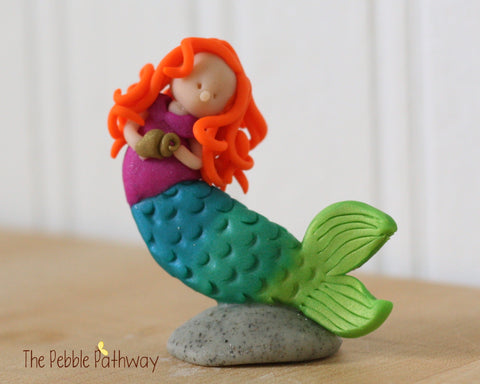 Mermaid Fairy ginger hair purple swim top