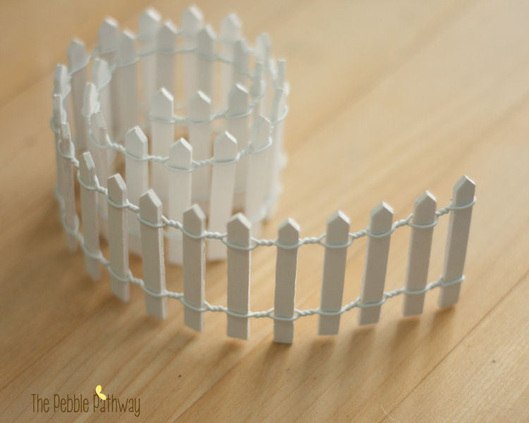 Miniature Picket Fence for Fairy Garden - White, 18 inches long, 2 inches tall