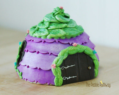 Handmade Fairy House - Purple with green leaf roof and leaf door