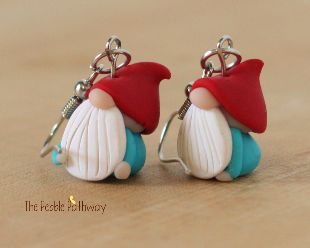 Tiny Gnome Earrings 0175 - ThePebblePathway
