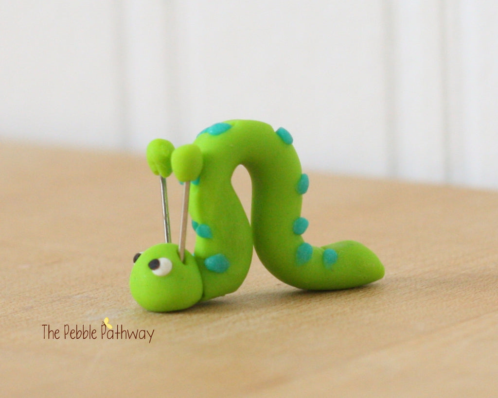 Fairy Garden Decorations - Miniature Inch Worm - terrarium accessory 0203 - ThePebblePathway