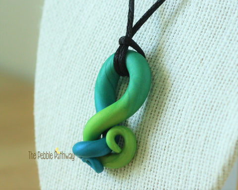 Blue and Green Tentacle Necklace 002 - ThePebblePathway