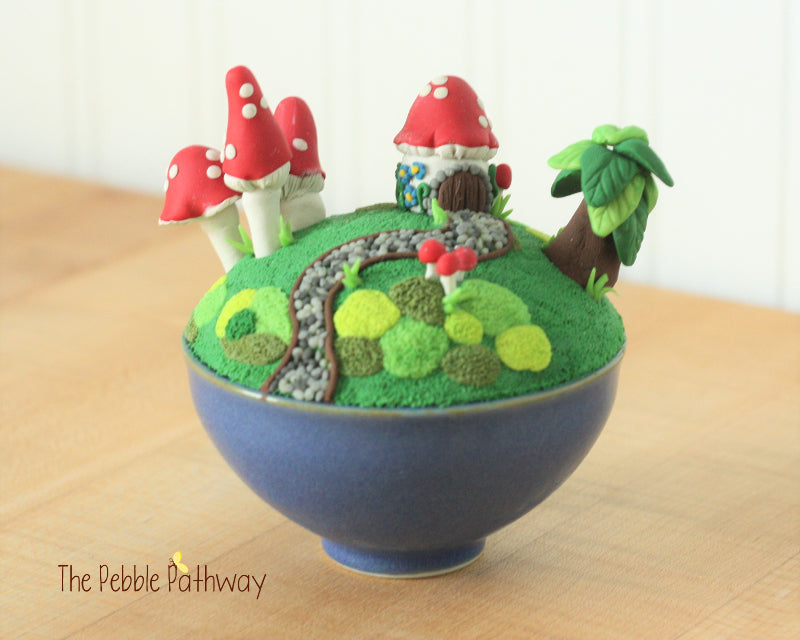 Fairy garden in a little blue bowl!  Fairy garden, Gnome home, minature garden - ThePebblePathway