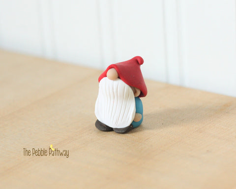 Blue gnome with droopy hat - plant poke and fairy garden accessory