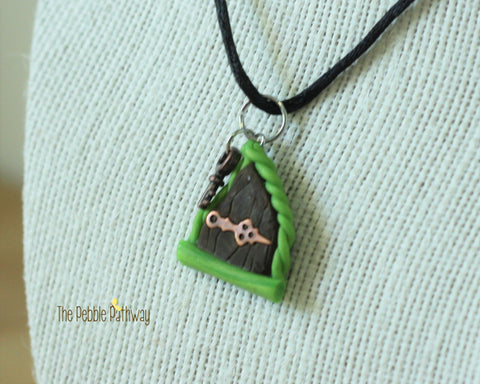 Fairy Door necklace green vine copper hinge and copper key - ThePebblePathway