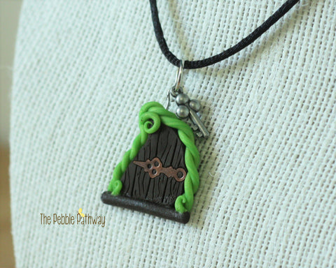 Fairy Door necklace green vine copper hinge and silver key