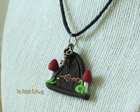 Fairy Door necklace two mushrooms and copper hinge - ThePebblePathway