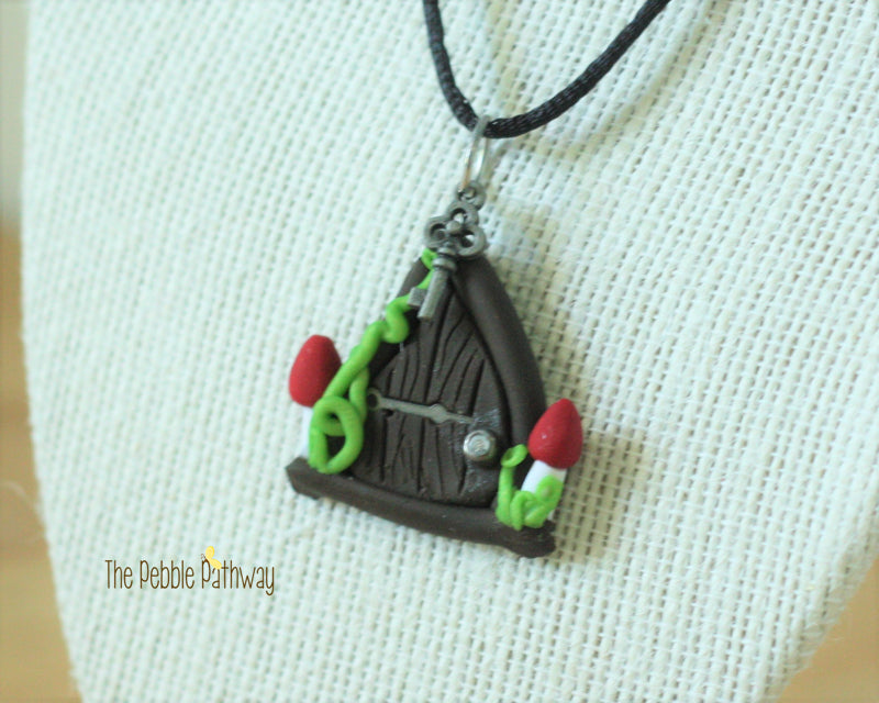 Fairy Door necklace two mushrooms and silver hinge - ThePebblePathway