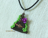 Fairy Door necklace purple flower and key