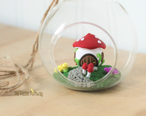 Fairy garden in a glass terrarium - Mushroom House! Fairy garden, Gnome home, minature garden - ThePebblePathway