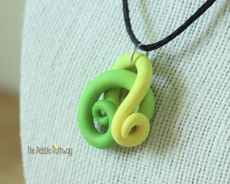 Green and Yellow Tentacle Necklace - ThePebblePathway