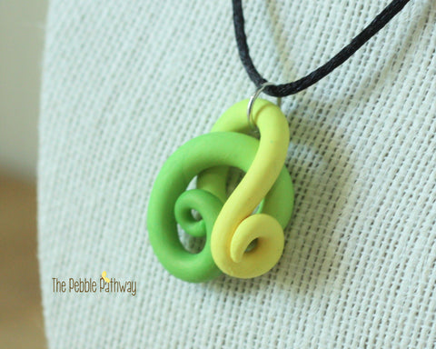 green and yellow tentacle necklace