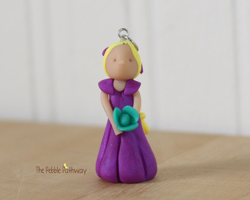 Fairy Ornament With Long Blonde Hair Purple Dress And Teal Blue