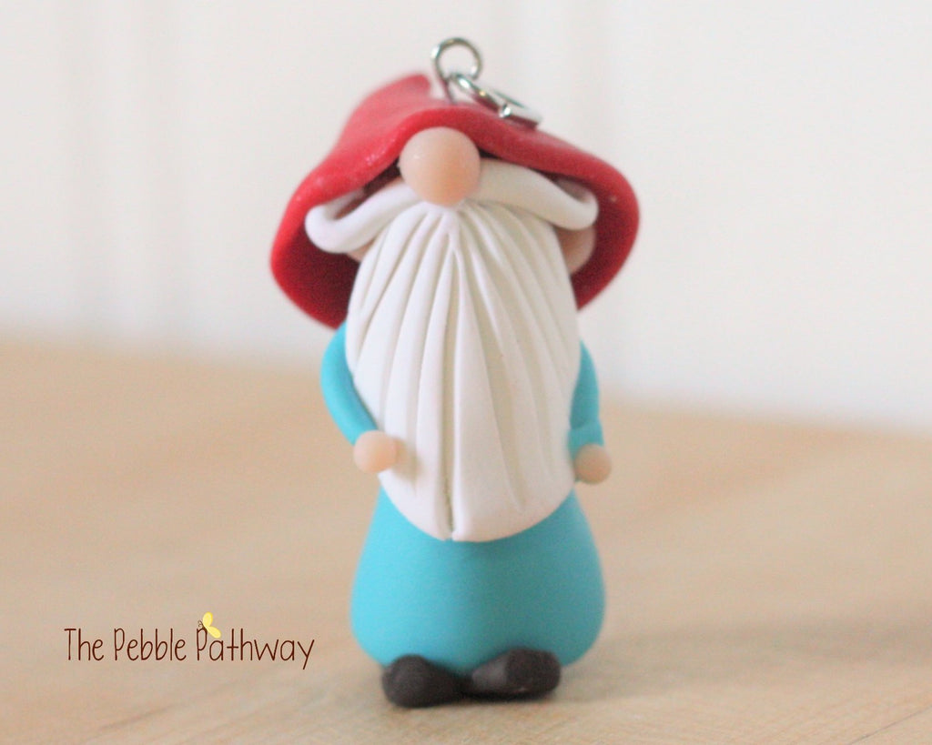 Miniature Polymer Clay Gnome Ornament - Garden Gnome Good Luck Charm 0251 - ThePebblePathway