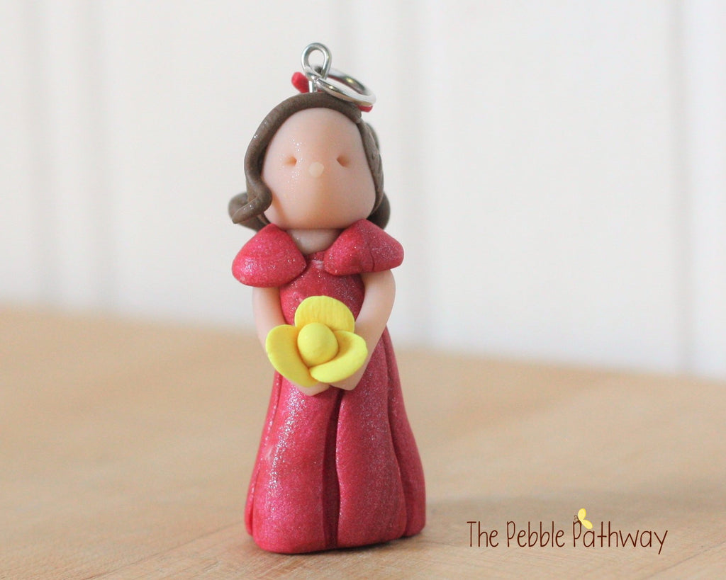 Brunette Fairy Ornament with long brown hair pink dress and yellow flower 0257 - ThePebblePathway