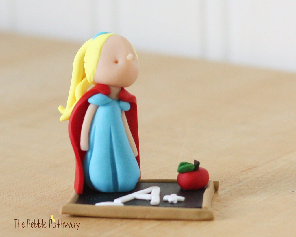 Blonde Hair Teacher Hero Fairy Figurine on Faux Chalkboard with cape and apple 0221 - ThePebblePathway