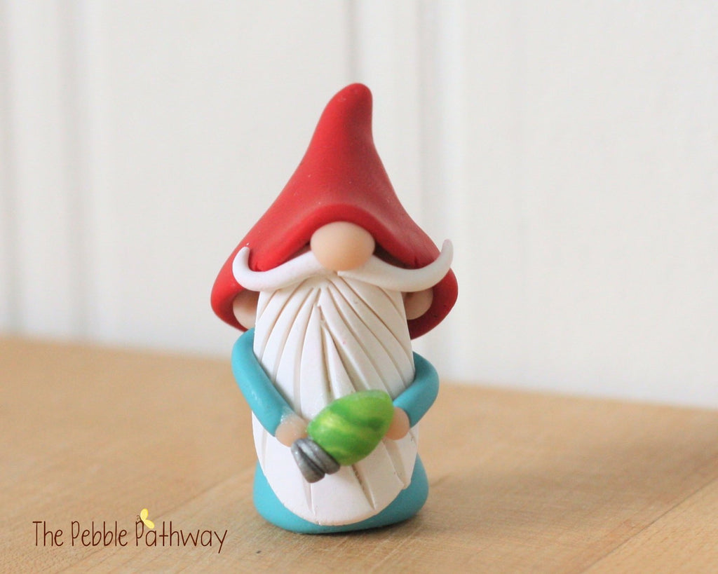 Miniature Polymer Clay Gnome holding green christmas light - Gnome ornament, Christmas Ornament, Holiday decoration 0295 - ThePebblePathway