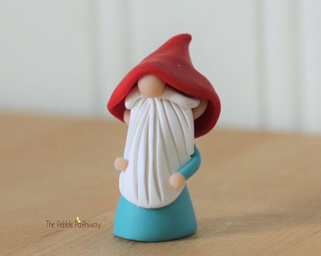 Miniature Polymer Clay Gnome - Garden Gnome Good Luck Shelf Sitter Plant Poke Ornament 0260 - ThePebblePathway