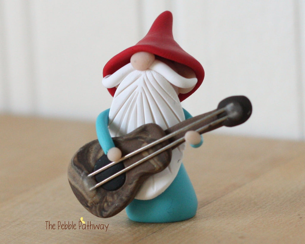 Guitar Player Gnome Bass Player Gnome Christmas Ornament - Career Gnomes and Fairies 0302 - ThePebblePathway