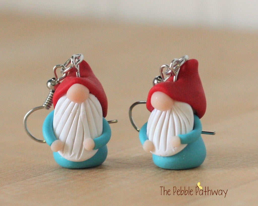 tiny gnome earrings cute polymer clay jewelry stocking stuffer inexpensive cute christmas gift 0266