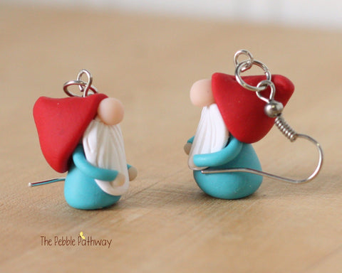 Tiny Gnome Earrings - Cute polymer clay jewelry - Stocking stuffer inexpensive cute christmas gift 0268 - ThePebblePathway