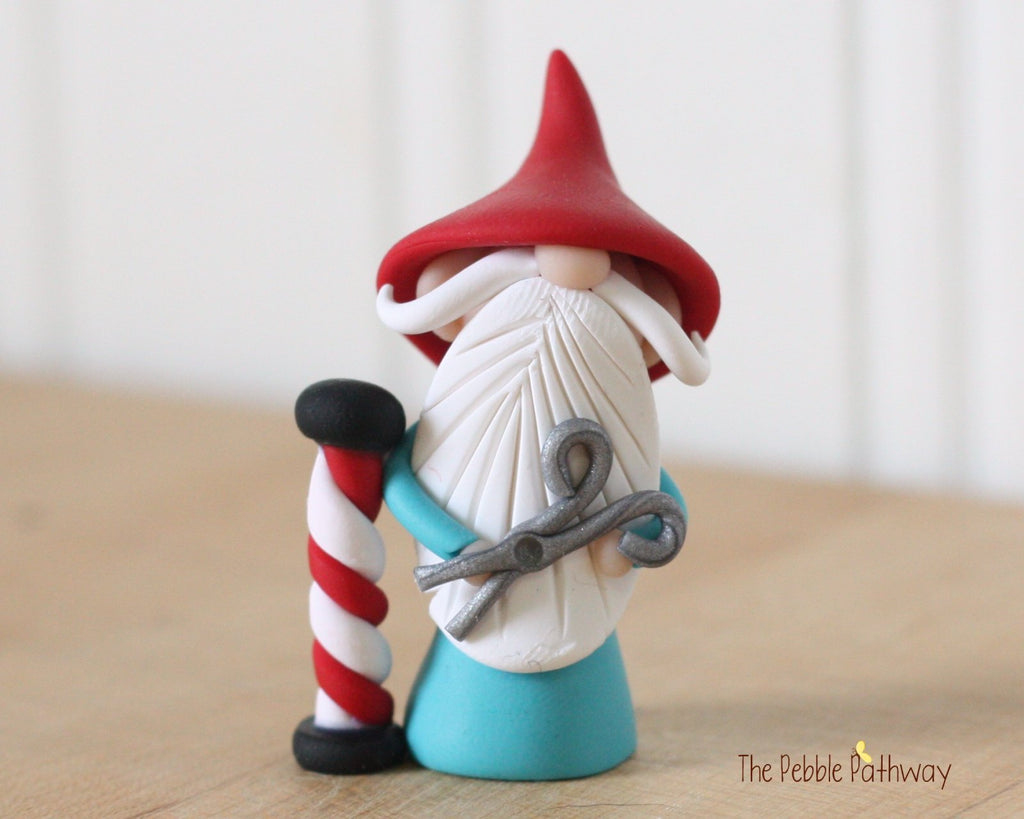 Barber Gnome - Hair Dresser Gnome - Career Gnomes and Fairies - Figurine Ornament 0306 - ThePebblePathway