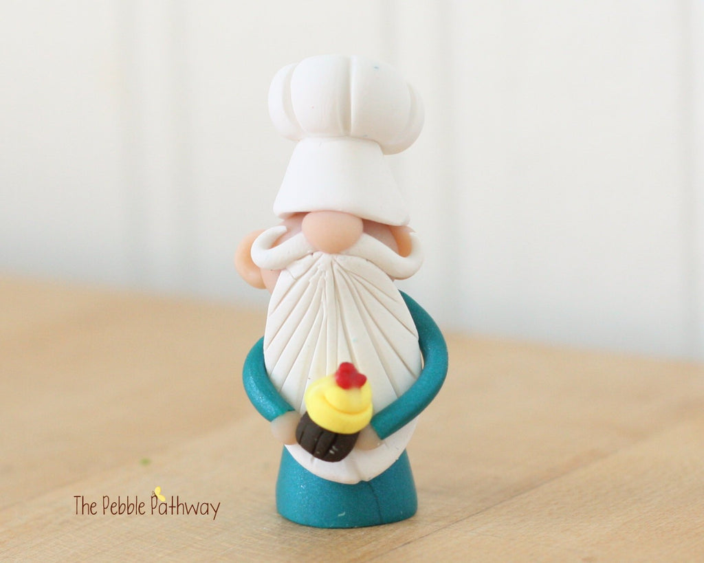 Chef Gnome - Career Gnomes and Fairies - Baker Cook Cupcake Ornament 0308 - ThePebblePathway