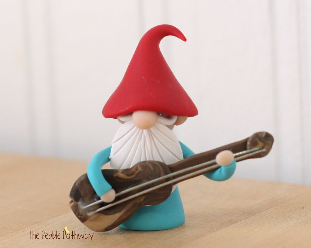 Guitar Player Gnome Bass Player Gnome Christmas Ornament - Career Gnomes and Fairies 0311 - ThePebblePathway