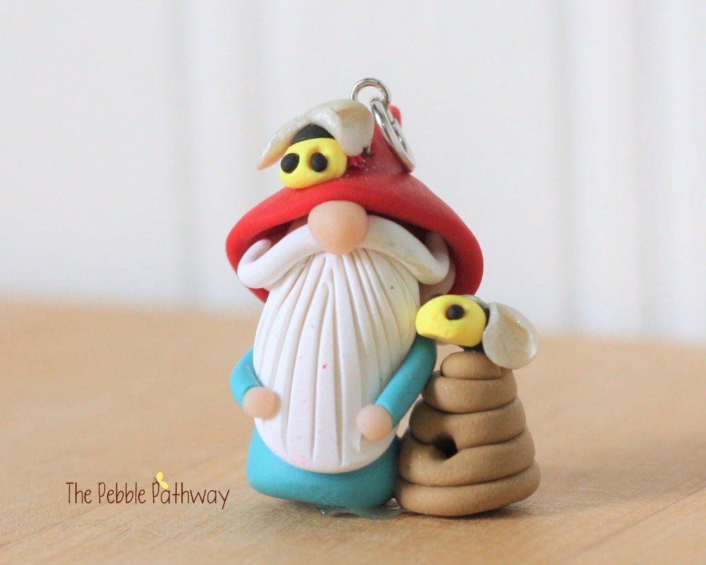 Bee Keeper Gnome - apiarist gnome - apiary ornament - Gnome with Bee Hive 0283 - ThePebblePathway