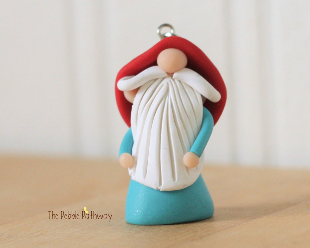 miniature polymer clay gnome ornament garden gnome good luck 0247