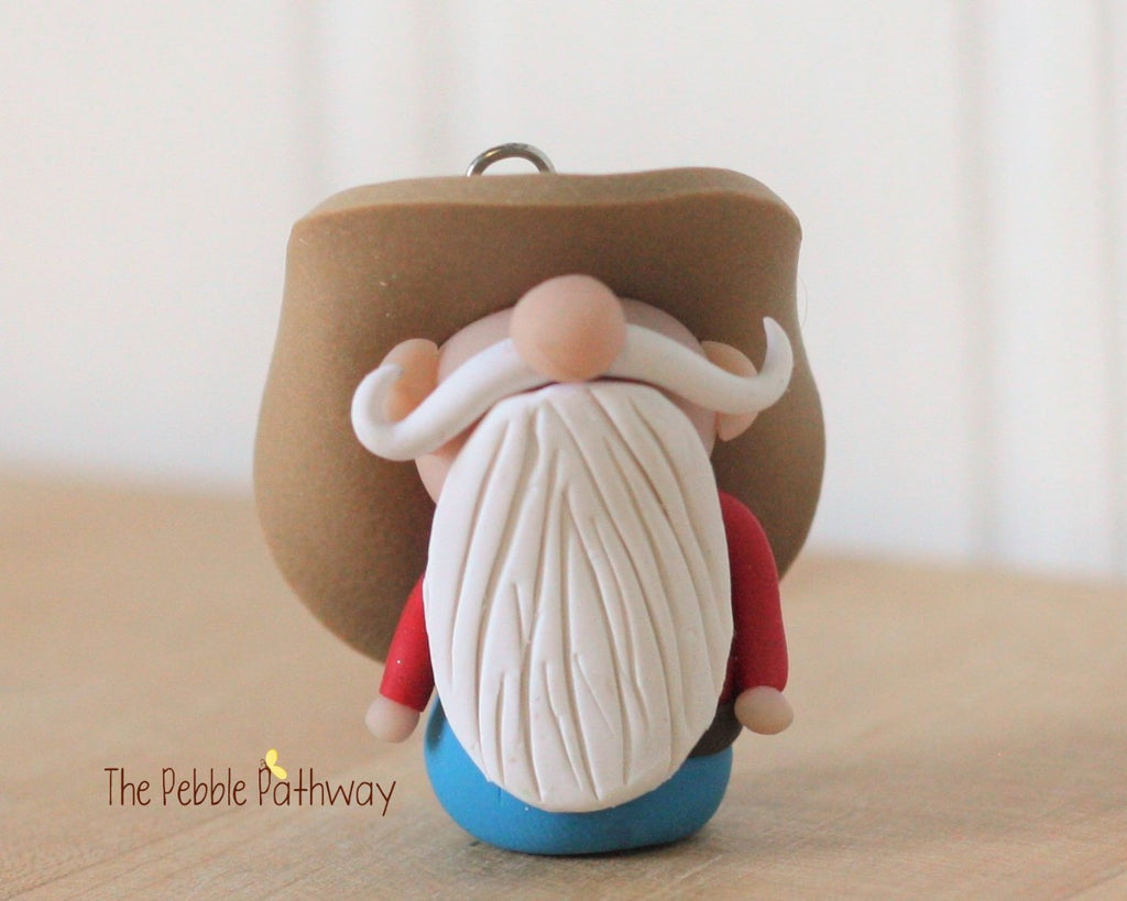 Cowboy or Farmer Gnome Ornament - Career Gnomes and Fairies - Working Gnome 0010 - ThePebblePathway