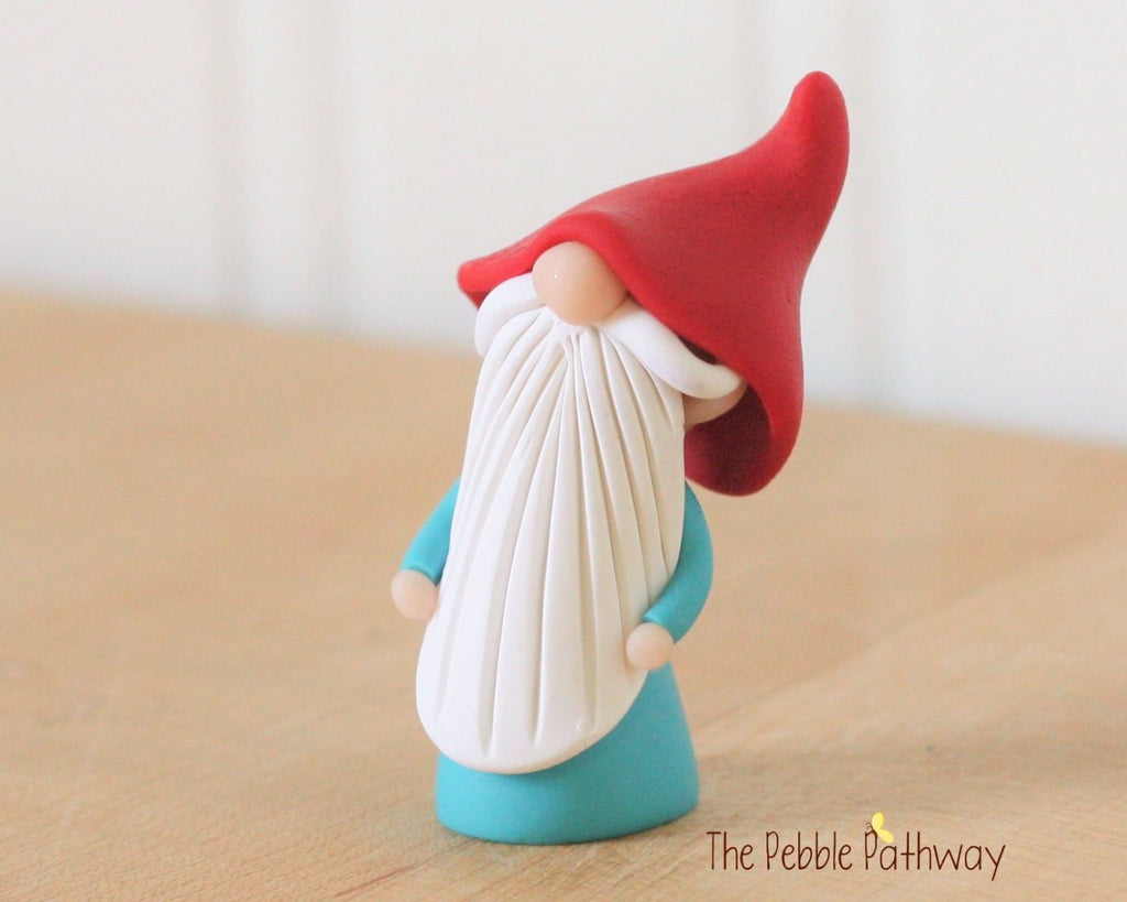 Miniature Polymer Clay Gnome - Garden Gnome Good Luck Shelf Sitter Plant Poke Ornament 0262 - ThePebblePathway