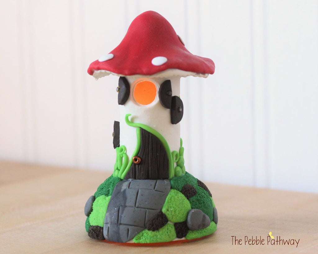 Fairy House - Red Mushroom Fairy Home - Tall Narrow Fairy House Night light tooth fairy house 0246 - ThePebblePathway