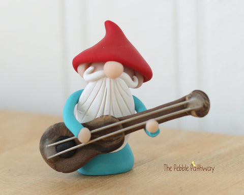 Guitar Player Gnome Bass Player Gnome Christmas Ornament - Career Gnomes and Fairies 0313