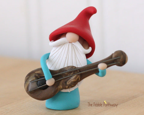 Guitar Player Gnome Bass Player Gnome Christmas Ornament - Career Gnomes and Fairies 0314