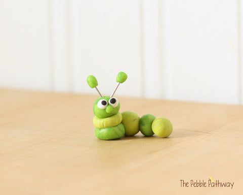 Caterpillar or inch worm  - Woodland Animals - Terrarium Accessory - fairy garden decoration  Cupcake Topper 0469 - ThePebblePathway