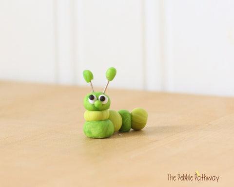 Caterpillar or inch worm  - Woodland Animals - Terrarium Accessory - fairy garden decoration  Cupcake Topper 0470 - ThePebblePathway
