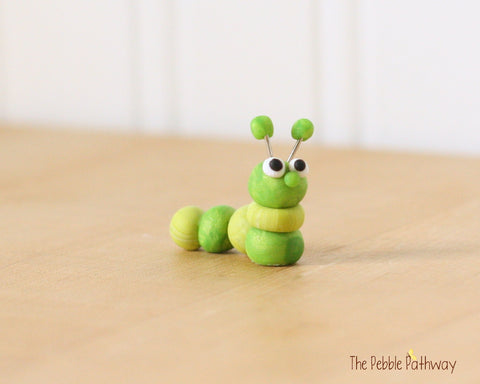 Caterpillar or inch worm  - Woodland Animals - Terrarium Accessory - fairy garden decoration  Cupcake Topper 0471 - ThePebblePathway