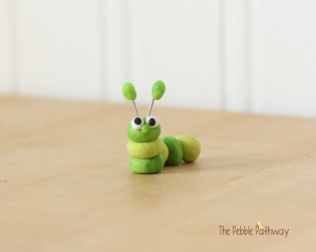 Caterpillar or inch worm  - Woodland Animals - Terrarium Accessory - fairy garden decoration  Cupcake Topper 0474 - ThePebblePathway