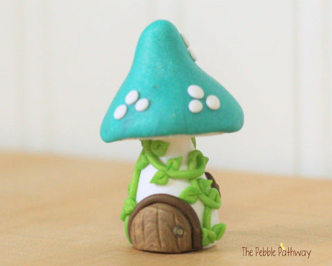 Tiny Mushroom Gnome Home,  Teal Mushroom Fairy House, Terrarium Decoration,  Fairy Garden Accessory 0477 - ThePebblePathway
