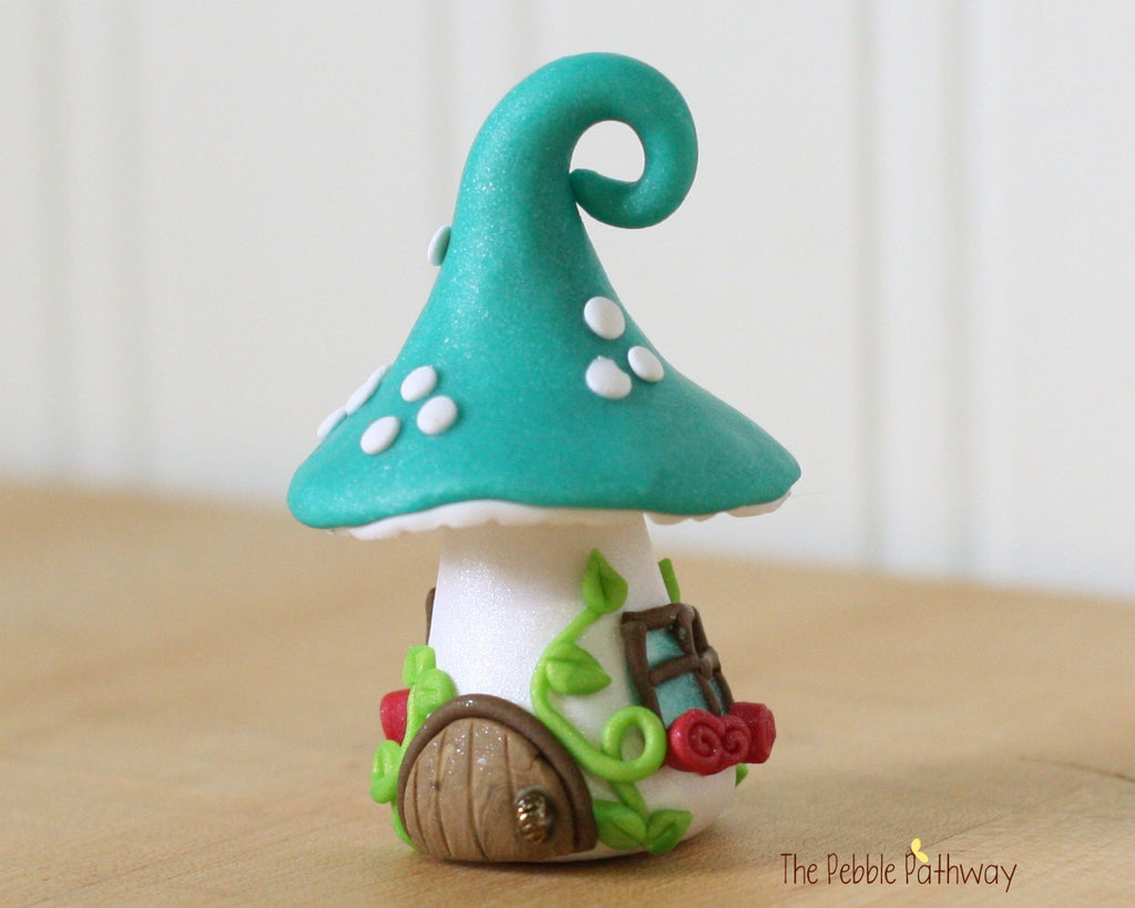 Tiny Mushroom Gnome Home, Teal Mushroom Fairy House, Terrarium Decoration,  Fairy Garden Accessory 0480 - ThePebblePathway