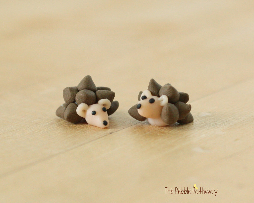 Two miniature polymer clay hedgehogs - Woodland Animals - Miniature Terrarium Accessory - fairy garden decoration handmade 0492 - ThePebblePathway