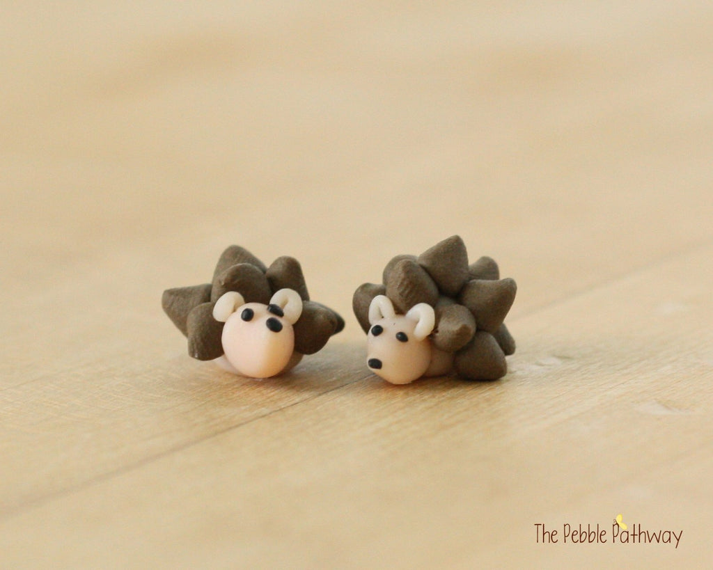 Two miniature polymer clay hedgehogs - Woodland Animals - Miniature Terrarium Accessory - fairy garden decoration handmade 0493 - ThePebblePathway