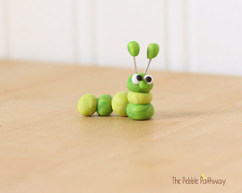Caterpillar or inch worm  - Woodland Animals - Terrarium Accessory - fairy garden decoration  Cupcake Topper 0472