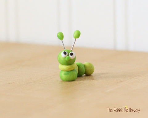 Caterpillar or inch worm  - Woodland Animals - Terrarium Accessory - fairy garden decoration  Cupcake Topper 0473